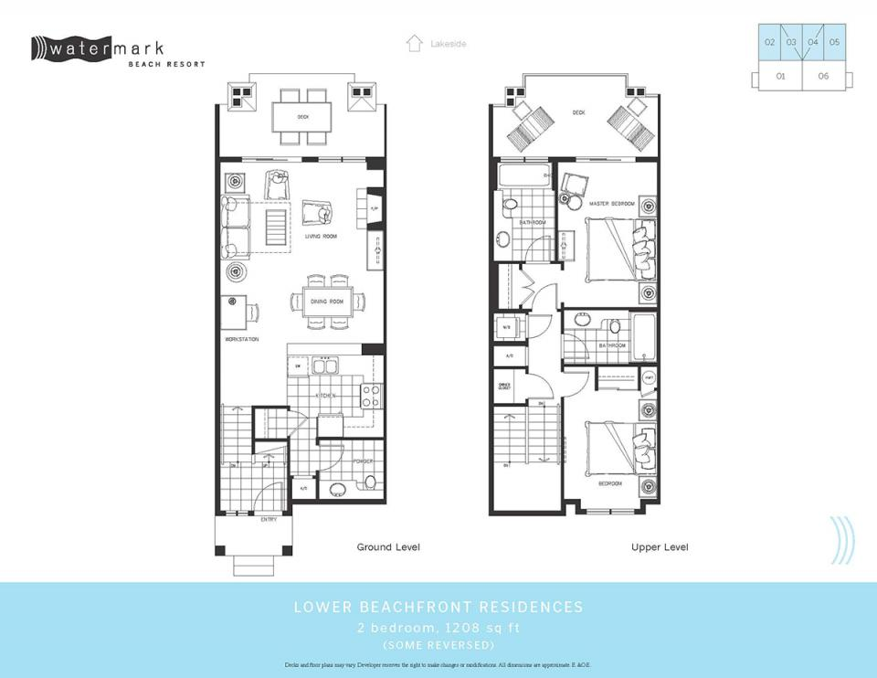 Beachfront townhomes own watermark resort ownership for Townhome floor plan designs